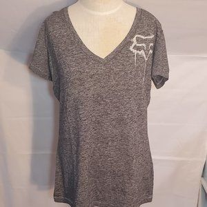 LADIES SMALL GRAY & WHITE T SHIRT FOX RACING NEW